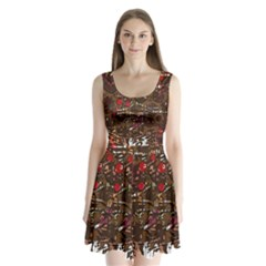 Brown confusion Split Back Mini Dress