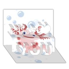 Axolotl Natural Tshirt Miss You 3d Greeting Card (7x5)