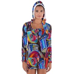 Abstract Paintings Wallpapers Women s Long Sleeve Hooded T Shirt