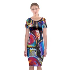 Abstract Paintings Wallpapers Classic Short Sleeve Midi Dress