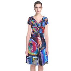 Abstract Paintings Wallpapers Short Sleeve Front Wrap Dress