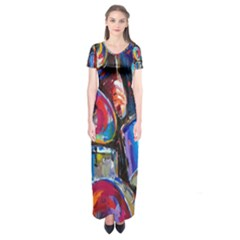 Abstract Paintings Wallpapers Short Sleeve Maxi Dress
