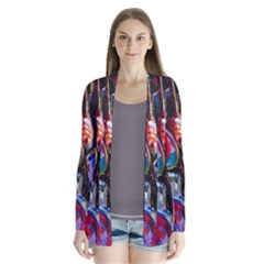Abstract Paintings Wallpapers Drape Collar Cardigan