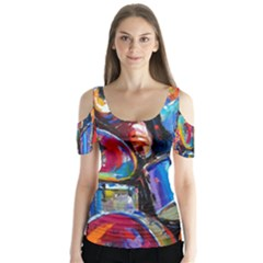 Abstract Paintings Wallpapers Butterfly Sleeve Cutout Tee
