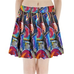 Abstract Paintings Wallpapers Pleated Mini Skirt