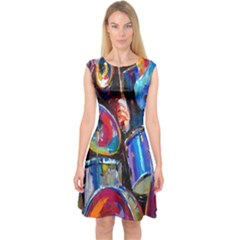 Abstract Paintings Wallpapers Capsleeve Midi Dress