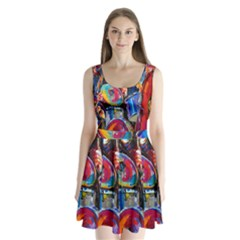 Abstract Paintings Wallpapers Split Back Mini Dress