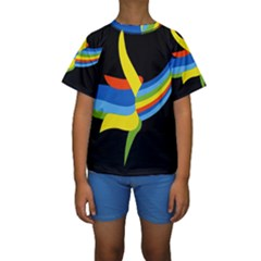 Abstraction Banana Kids  Short Sleeve Swimwear