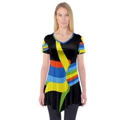 Abstraction Banana Short Sleeve Tunic