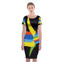 Abstraction Banana Classic Short Sleeve Midi Dress