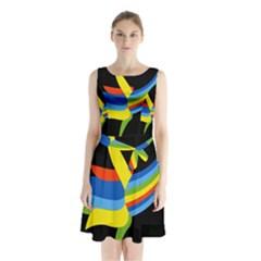 Abstraction Banana Sleeveless Chiffon Waist Tie Dress