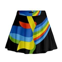 Abstraction Banana Mini Flare Skirt