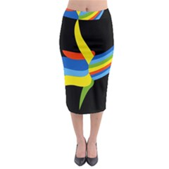Abstraction Banana Midi Pencil Skirt