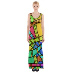 Abstrak Maxi Thigh Split Dress