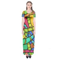 Abstrak Short Sleeve Maxi Dress
