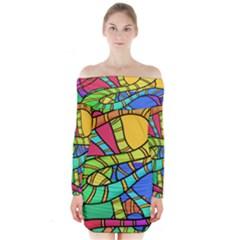 Abstrak Long Sleeve Off Shoulder Dress
