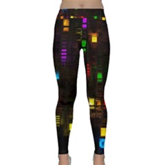 Abstract 3d Digital Art Colors Cubes Square Shapes Pattern Dark Yoga Leggings