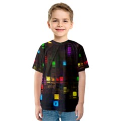 Abstract 3d Digital Art Colors Cubes Square Shapes Pattern Dark Kids  Sport Mesh Tee
