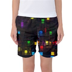 Abstract 3d Digital Art Colors Cubes Square Shapes Pattern Dark Women s Basketball Shorts