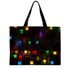 Abstract 3d Digital Art Colors Cubes Square Shapes Pattern Dark Large Tote Bag