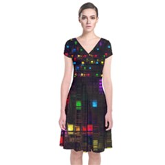 Abstract 3d Digital Art Colors Cubes Square Shapes Pattern Dark Short Sleeve Front Wrap Dress