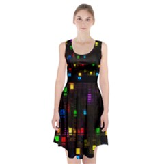 Abstract 3d Digital Art Colors Cubes Square Shapes Pattern Dark Racerback Midi Dress