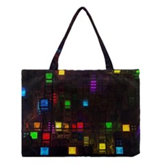 Abstract 3d Digital Art Colors Cubes Square Shapes Pattern Dark Medium Tote Bag