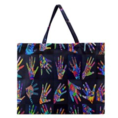 Art With Your Hand Zipper Large Tote Bag