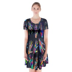 Art With Your Hand Short Sleeve V-neck Flare Dress