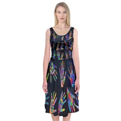 Art With Your Hand Midi Sleeveless Dress
