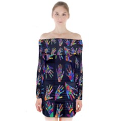 Art With Your Hand Long Sleeve Off Shoulder Dress