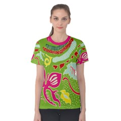 Green Organic Abstract Women s Cotton Tee