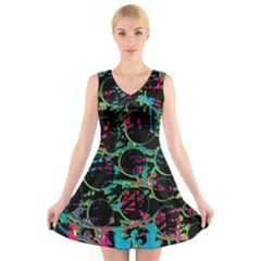 Graffiti style design V-Neck Sleeveless Skater Dress