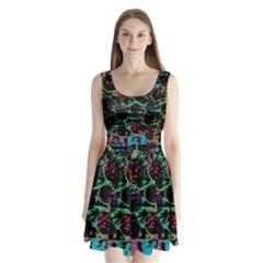 Graffiti style design Split Back Mini Dress