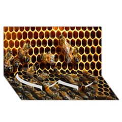 Bees On A Comb Twin Heart Bottom 3d Greeting Card (8x4)