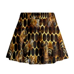 Bees On A Comb Mini Flare Skirt