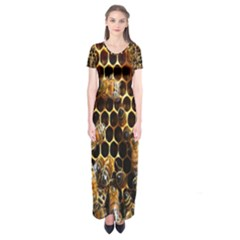 Bees On A Comb Short Sleeve Maxi Dress