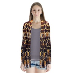 Bees On A Comb Drape Collar Cardigan
