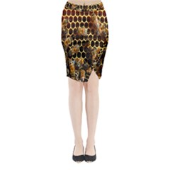 Bees On A Comb Midi Wrap Pencil Skirt