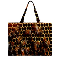 Bees On A Comb Medium Zipper Tote Bag