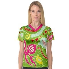 Green Organic Abstract Women s V Neck Sport Mesh Tee