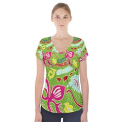 Green Organic Abstract Short Sleeve Front Detail Top