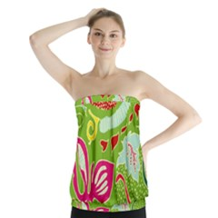 Green Organic Abstract Strapless Top