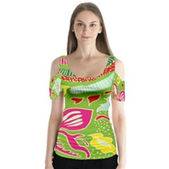 Green Organic Abstract Butterfly Sleeve Cutout Tee
