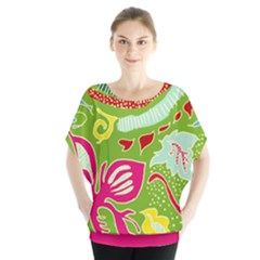 Green Organic Abstract Batwing Chiffon Blouse