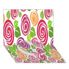 Blue Rose Circle Bottom 3d Greeting Card (7x5)