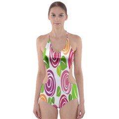 Blue Rose Cut-Out One Piece Swimsuit