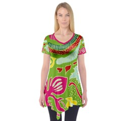 Green Organic Abstract Short Sleeve Tunic