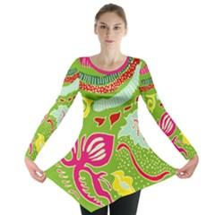 Green Organic Abstract Long Sleeve Tunic