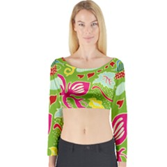 Green Organic Abstract Long Sleeve Crop Top (tight Fit)